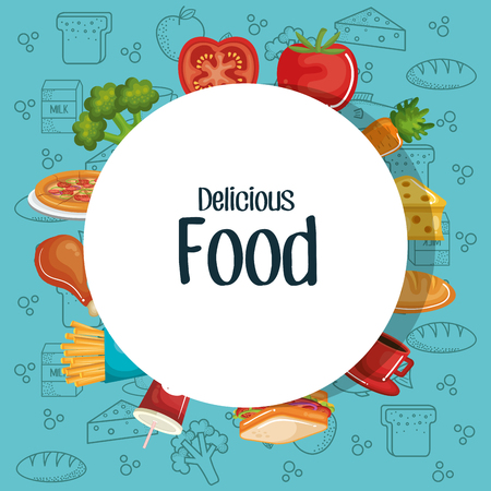Delicious food sign over teal background with hand drawn food. Vector illustration.