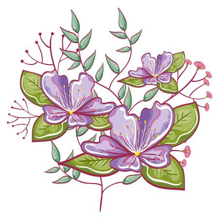 Lila bloemen met groene bladeren en takken op witte achtergrond. Vector illustratie. Stock Illustratie