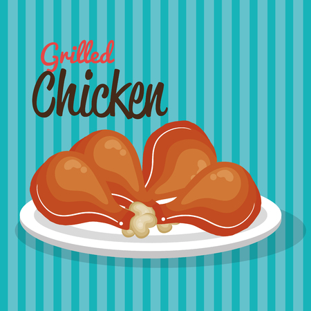 Chicken thighs on a plate over teal striped background. Vector illustration.