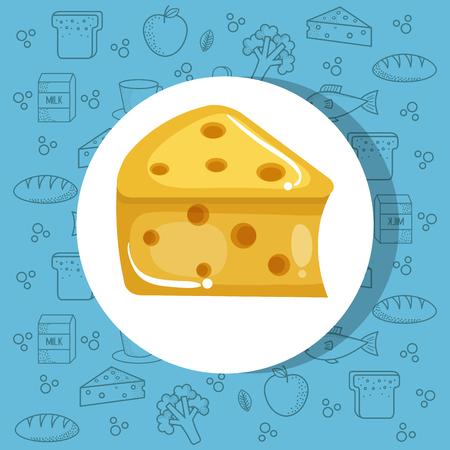 Kaas icoon op blauwe achtergrond met handgetekend voedsel. Vector illustratie.