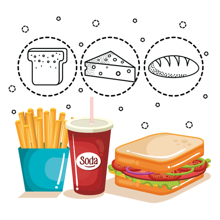 Cheese, coffee and chicken thigh with hand drawn food stickers over white background. Vector illustration. Illustration