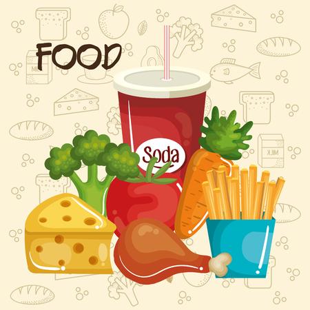 手でベージュの背景の上健康で不健全な食品には、関連するオブジェクトが描画されます。 ベクトルの図。