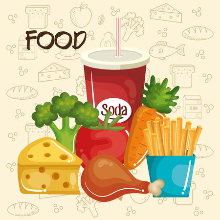 Healthy and unhealthy food over beige background with hand drawn related objects.  Vector illustration.