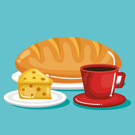 Cheese and bread loaf with hand drawn food stickers over white background. Vector illustration.