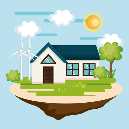 Eco friendly countryside house with wind turbines over blue background. Vector illustration. Illustration