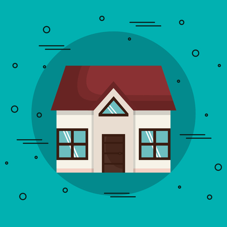 Klein huis over groenblauw achtergrond. Vector illustratie.
