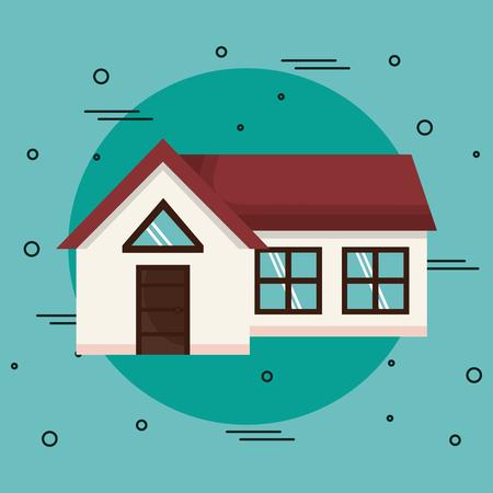 Huis over groenblauw achtergrond. Vector illustratie. icoon