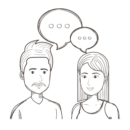 Hand drawn uncolored talking people over white background. Vector illustration.