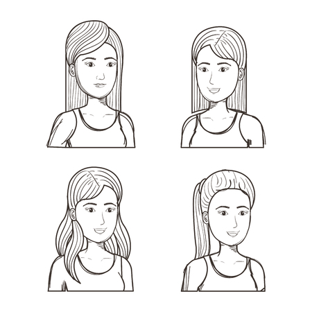 Hand getrokken ongekleurde meisjes met verschillende kapsels die over witte achtergrond worden geplaatst. Vector illustratie. Stock Illustratie