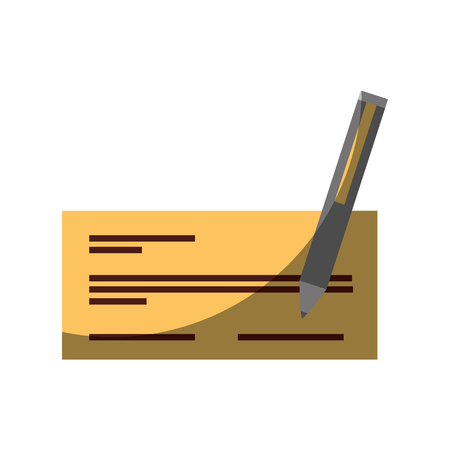check bank with pen icon vector illustration design