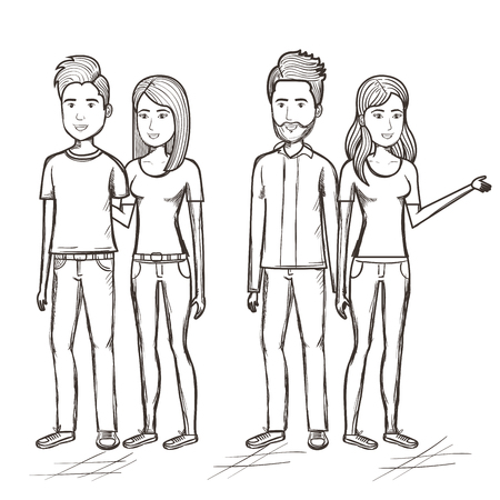 Hand drawn uncolored standing couples over white background. Vector illustration. Illustration