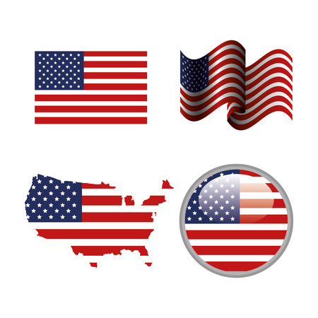 Objects with american flag over white background. Vector illustration.
