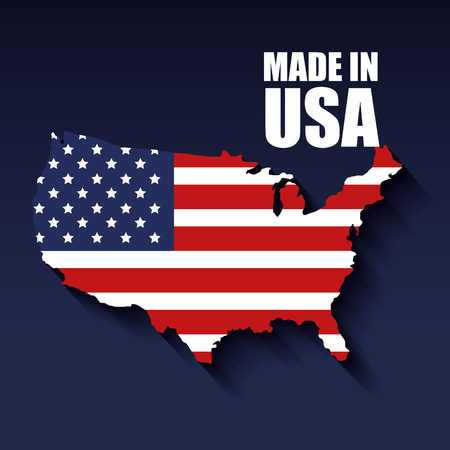 USA map with flag and made in USA sign over blue background. Vector illustration.