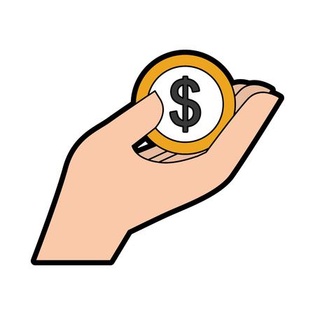 Hand with dollar coin icon vector illustration design Illustration