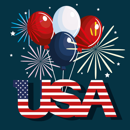 USA sign with flag, balloons and fireworks over blue background.  Vector illustration.