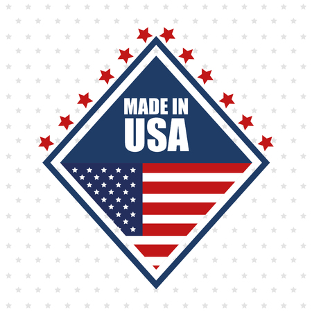 Made in USA sign with stars and american flag over white starry background.  Vector illustration. Иллюстрация