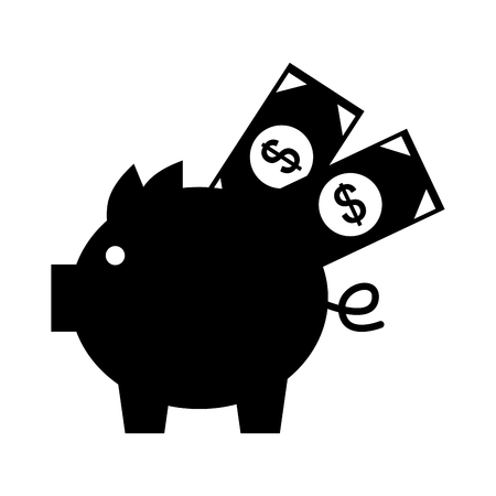 piggy savings with bills vector illustration design