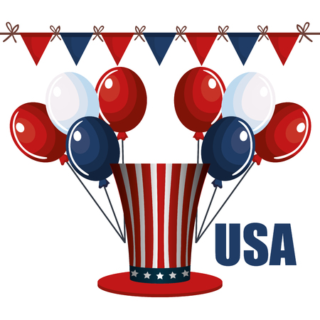 American hat with balloons and banner over white background. Vector illustration. Иллюстрация