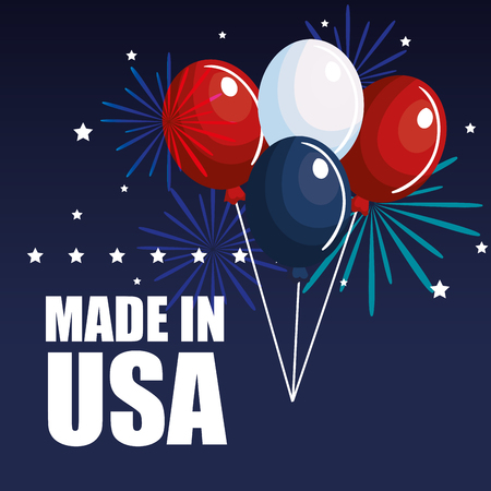 Colorful balloons with made in USA sign and stars over blue background. Vector illustration.