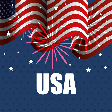 Waving american flag with fireworks and USA  sign over blue starry, background.  Vector illustration.
