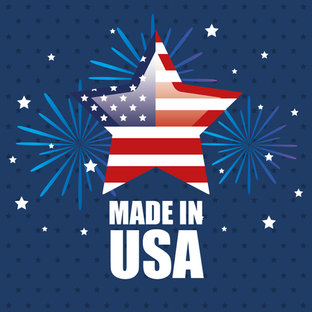 Star with american flag, fireworks and made in USA sign over blue starry background.  Vector illustration. Иллюстрация