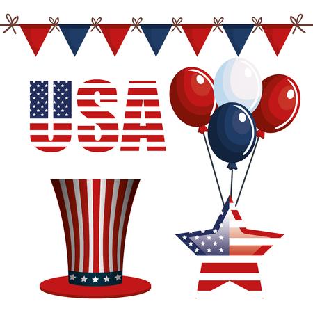 USA festive items over white background.  Vector illustration.
