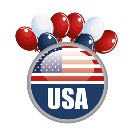 USA flag buttton with balloons over white background.  Vector illustration.