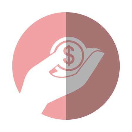 hand human with coin money dollar icon vector illustration design