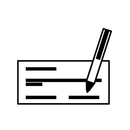 Check bank met pen icoon vector illustratie ontwerp