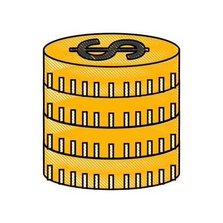 coins money dollar icon vector illustration design