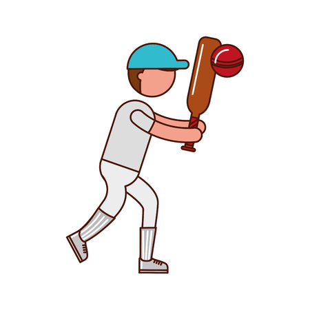 athlete practicing cricket avatar vector illustration design 向量圖像