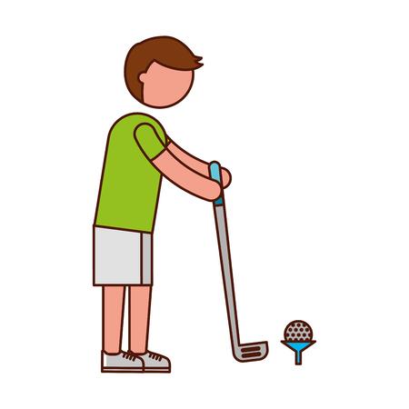 teen golf: ethlete practicing golf avatar vector illustration design Vectores