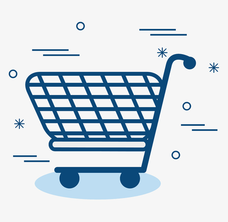 A blue shopping cart over white background. Vector illustration. Illustration