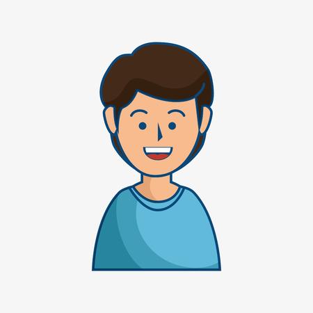 Smiling brunette man over white background. Vector illustration.