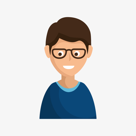 Smiling brunette man with glasses over white background. Vector illustration. Illustration