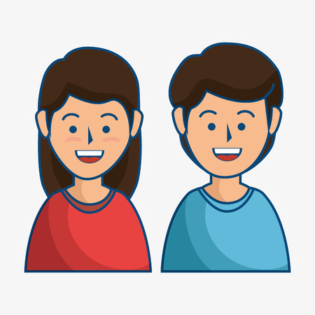 A smiling brunette couple over white background. Vector illustration.