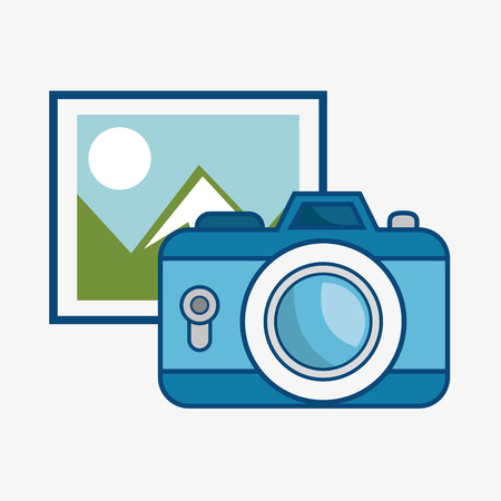 A picture of a landscape and a blue camera over white background. Vector illustration.