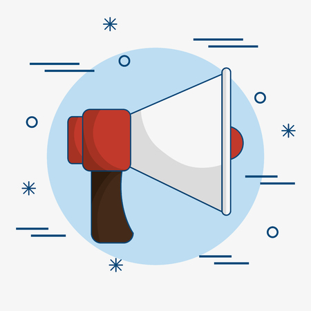 A red and white bullhorn icon over blue and white background.