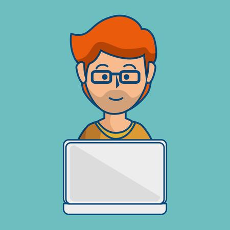 眼鏡青緑背景にノート パソコンを使用しての生姜男。  イラスト・ベクター素材