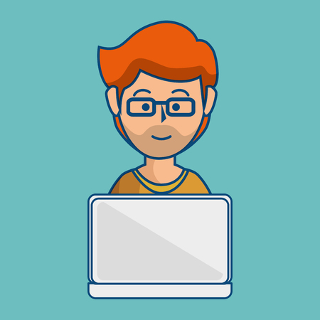 A ginger man with glasses using a laptop over teal background. Illustration