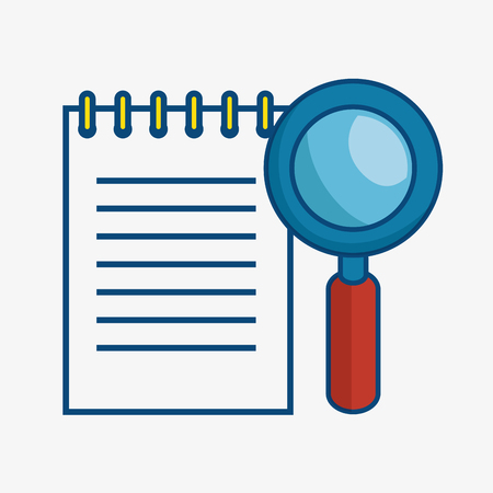 A notepad and a magnifying glass over white background. Vector illustration.