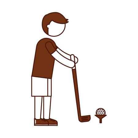 teen golf: athlete practicing golf avatar vector illustration design