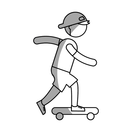 ethlete practicing skate board avatar vector illustration design Illustration