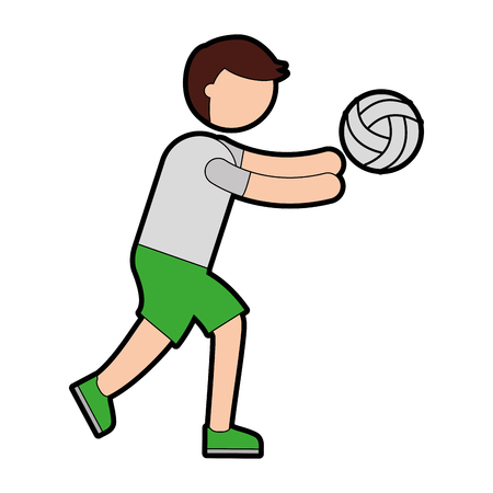 ethlete practicing volleyball avatar vector illustration design