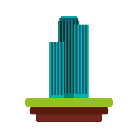 buildings over ground icon vector illustration design