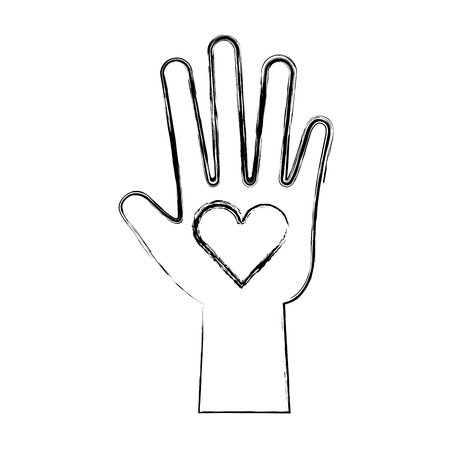 hand human with heart vector illustration design Çizim