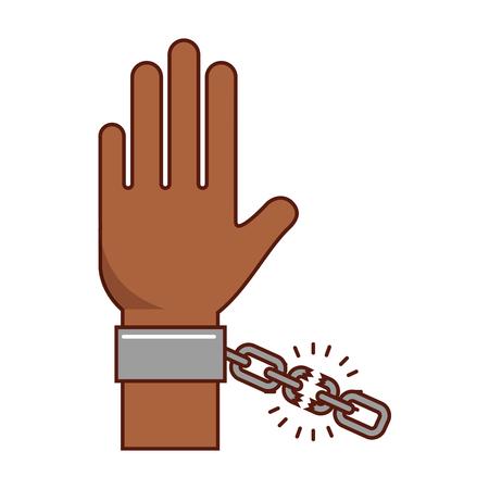 hand human with chains vector illustration design Çizim