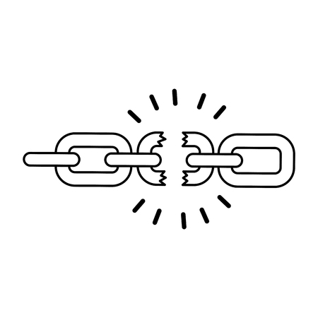 Broken chain isolated icon vector illustration design