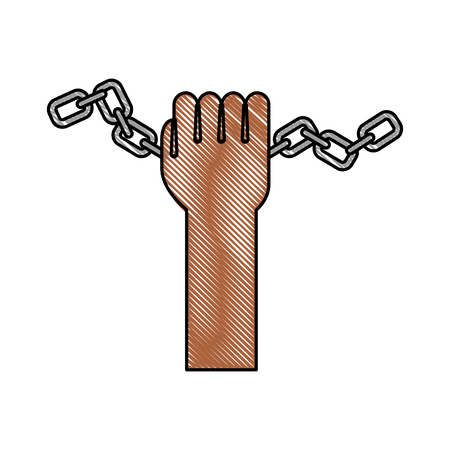 hand human with chains vector illustration design Ilustrace