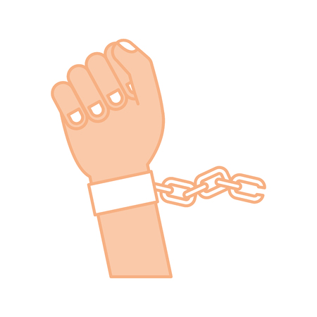 hand human with chains vector illustration design Imagens - 78632140